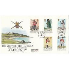 1985 Alderney  Regiments of the Garrison Full  set of 5  Official FDC