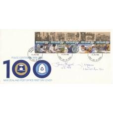 1986 New Zealand FDC Police Centenary 1886 - 1986 Signed 2 Bof B pilots