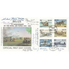 75th Anniv RAF  Belize  FDC Signed 9 Battle of Britain Pilots crew WRAF