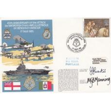 HMS Illustrious on Benghazi Harbour.Double Signed