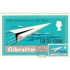 1981 Set of 3 Gibralter PHQ Cards  50th Anniversary of Air Mail  Unused.