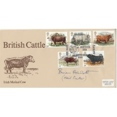 1984 British Cattle FDC Signed Brian Hewlett ( Neil Carter ) in Archers  ( Soap