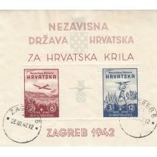 1942 WW11   Croatia Aviation Fund  Perforated  Miniture Sheet  Fine Unsed