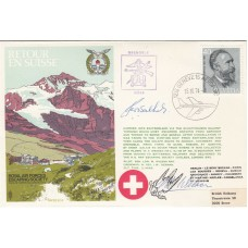 Rare ES8cD Escape to Switzerland with 40c Stamp, Green Flight Cachet Signed 2