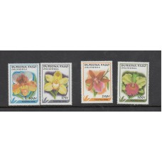 Burkina Fase 1996 Orchid Flower Stamps Unmounted Mint