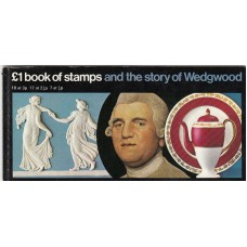 £1 book of Stamps and the Story of Wedgwood 18 at 3p, 17 at 2 ½p . 7 at ½p