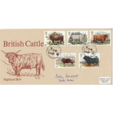1984 British Cattle FDC Signed Judy Bennett ( Shula  Archer ) in Archers ( SoaP)
