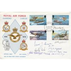 1978 Isle of Man FDI set of 4 RAF Stamps Signed 6 Battle of Britain Pilots, WAAF