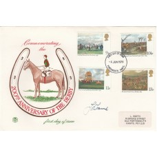 1979  Horse Racing Derby Bicentenary FDC. Signed John Francome MBE Ex Jockey