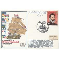 167th Anniv Battle of Trafalgar  HMS Victory. signed Capt.Lt.Cdr. H.A.A. Twiddy