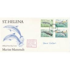 St Helena FDC Marine Mammals stamps, Signed Mr S. Walton,Keeper Windsor Safari P