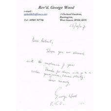 Letter & Piece Signed Rev'd George Wood 263 Sqn