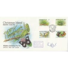 1988 Christmas Island FDI postmak on set of 3 Wildlife Stamps  Signed