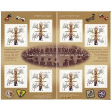 100 Years of Scouting with 8  Self Adhesive Stamps x 52 cents & FDC  100 Years o
