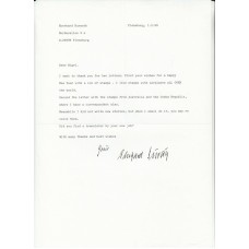 Letter Signed Eberhard Burath Luftwaffe Pilot    Typed Letter in Englisg Dated