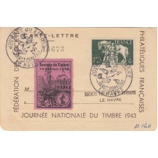 1943 France Illustrated Letter Card From Stamp Exhibion Le Havre Plus Label