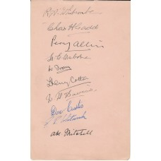 Piece Signed by 10 Professional Golf Players, ( 3  WW1 Veterans