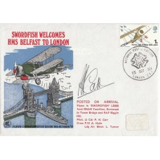 Swordfish Welcomes HMS Belfast to London Flown on Swordfish Signed by the pilot