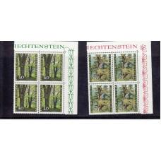 1980 Liechtenstein The Forest Through the 4 Seasons block of 4 Stamps UM