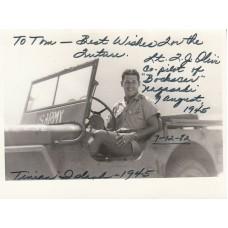 Photo Signed by  Fred Olivi  Co Pilot Bockscar  Nagasaki Bomb Drop 9 Aug 46.