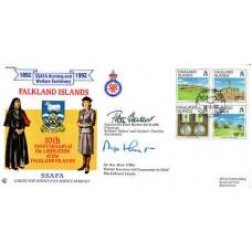 Port Stanley FDI on set of 4 stamps Signed Admiral Peter Herbert & Sir Rex Hunt
