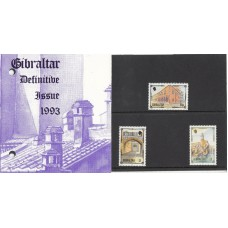 Gibraltar Presentation Pack Definitive Issue 1993 50p,£1.00 & £3.00