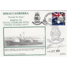 3RNCC8b HMAS Canberra RIMPAC 88 naval exercise with US Navy Signed