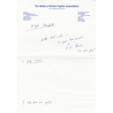 Letter Signed by N P W Hancock Battle of Britain Fighter Pilot .